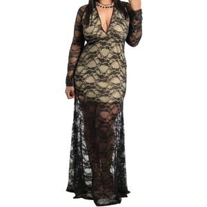 Dresses & Skirts - PLUS SIZE maxi dress prom party backless lace mesh
